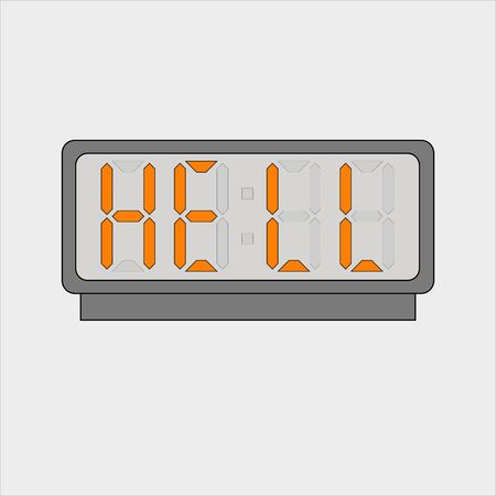 Stylized word hell on digital alarm or clock Illustration