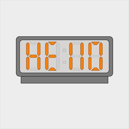 Stylized word hello on digital alarm or clock  イラスト・ベクター素材