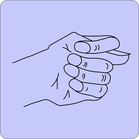 Fico or fig gesture drawn by means of black lines Illustration