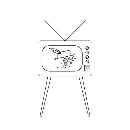 Old TV set with fico or fog gesture in hat on display Illustration