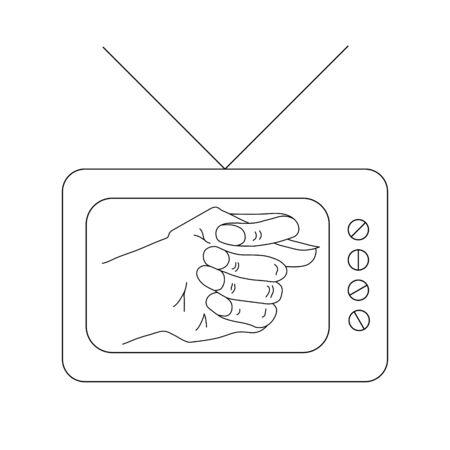 Old TV set with fico or fog gesture on display