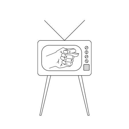 Old TV set with fico or fog gesture on display Illustration
