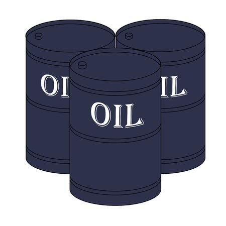 Vector icon or sign of three barrels with oil