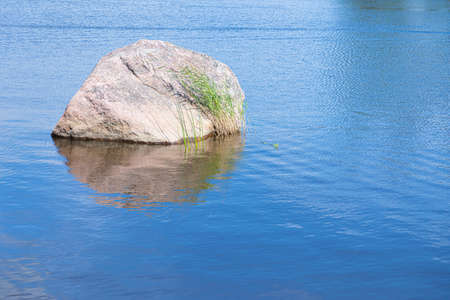 Alone granite stone or rock with green reed or cane among blue waves of water of sea or ocean gulf or creek