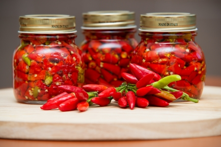 Calabrian peppers in oil hot pepper very hot chili photo