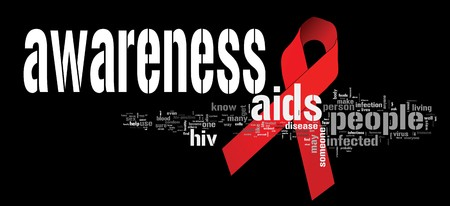 aids: AIDS awareness ribbon with related keywords
