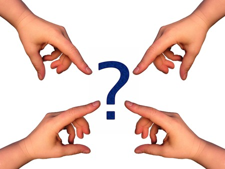 Hands pointing at question mark Stock Photo - 7262695
