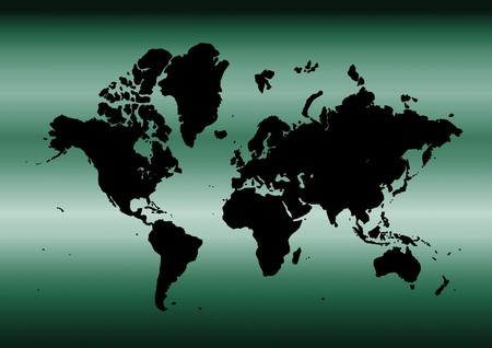 Map of the world with metallic cyan background photo