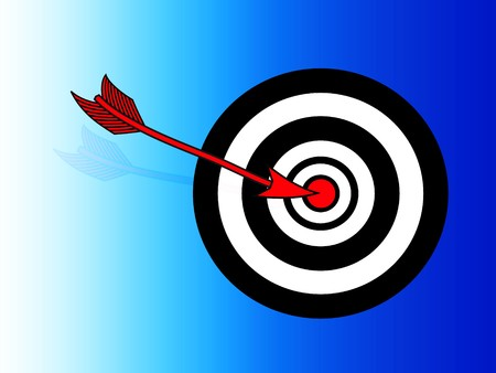 An illustration of a black and white target with a red bullseye on a blue gradient background. A red arrow has hit the bullseye. Vector