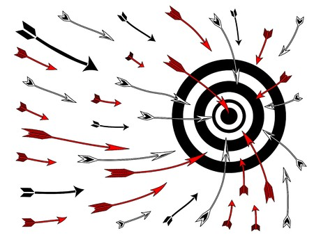 try: Diagram drawing of multiple arrows flying into a bullseye target board.