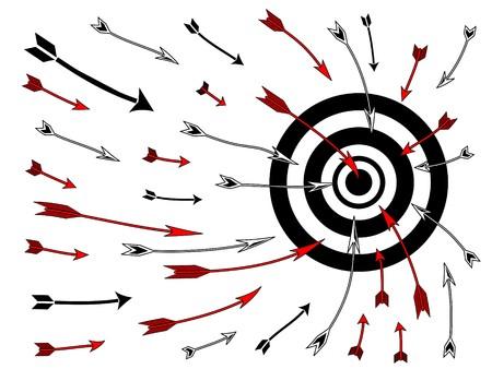 bullseye: Schematische Zeichnung mehrere Pfeile in einem Bullseye Ziel Board fliegen.