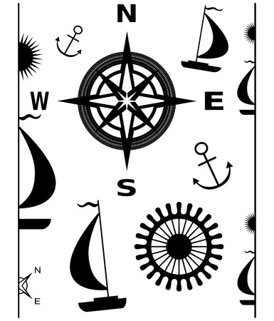 roer: illustratie van navigatie-elementen: grenzen, anker, kompas rose, zeilboten, roer