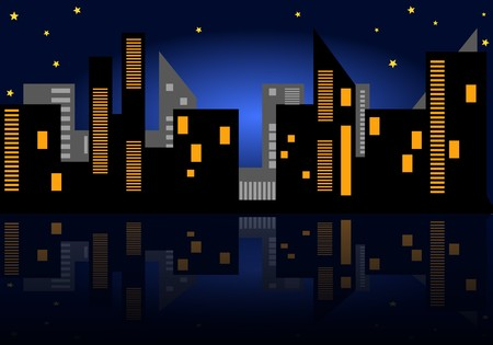 Illustration: starry night in the city Stock Vector - 7282095