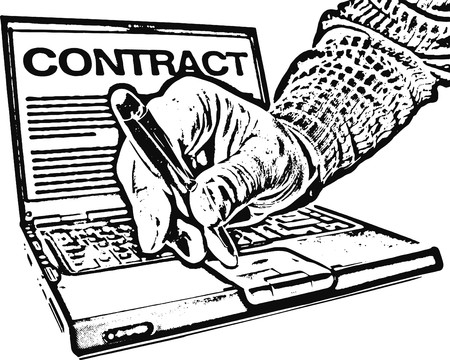 sign contract: Lets sign this: laptop, digital pen and reached out  hand; word contract on computer screen Illustration