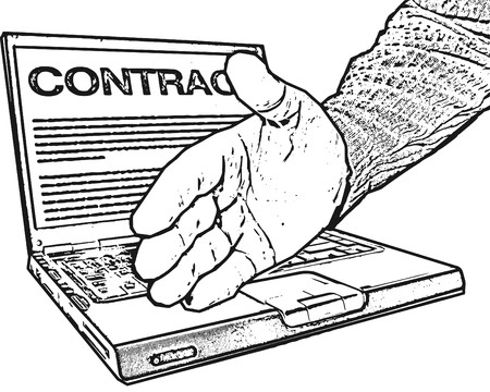 It's a deal: laptop, digital pen and reached out  hand; word contract on computer screen Stock Vector - 7282240