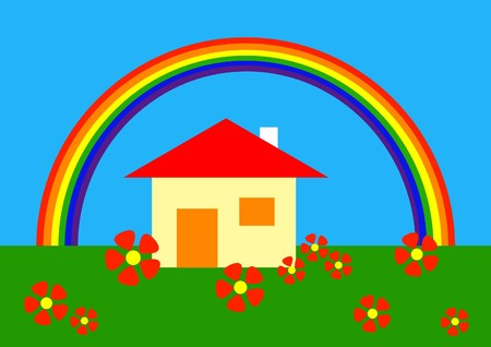 Simple drawing of home under rainbow Vector