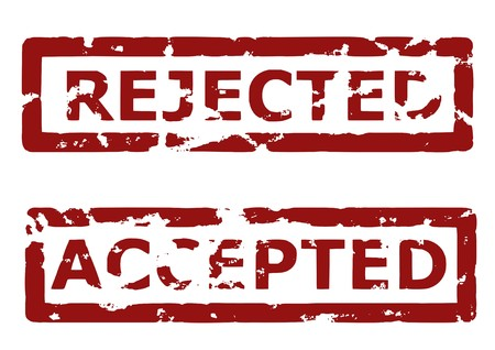 approvement: Illustration of a grunge rubber ink stamp: Rejected, accepted; dark red stamps on white background Illustration