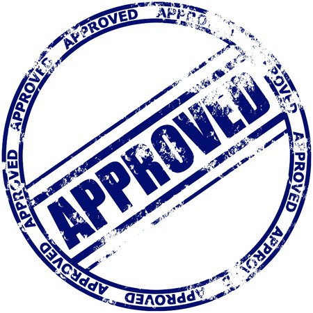 Illustration of a grunge rubber ink stamp: approved; dark blue stamp on white background