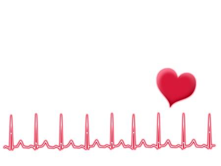 Heartbeats illustration: normal sinus rhythm; healthy life concept illustration