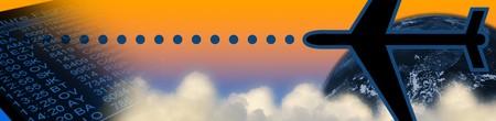 jetplane: Intestazione affari: calendario aeroporto, nuvole, aeroplano, terra