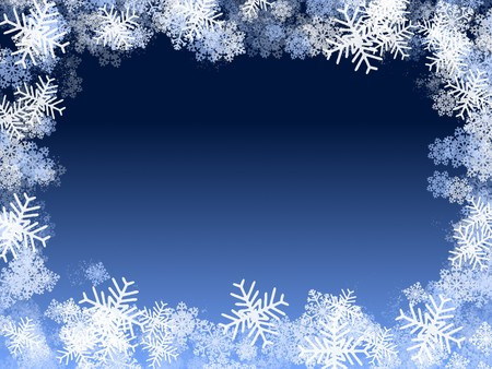 Winter illustration: snowflakes frame, frozen window illustration