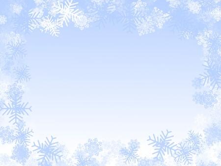 styczeń: Ilustracja zimowy: ramka pÅ'atki Å›niegu, mrożone okno