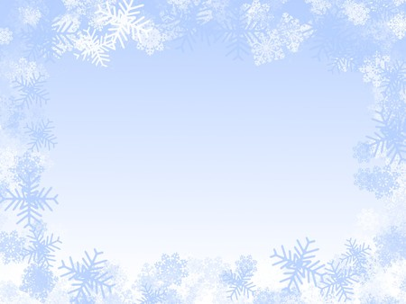 januar: Winter-Illustration: Schneeflocken-Frame, gefroren Fenster