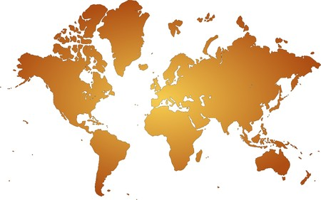 orange world map with white background photo