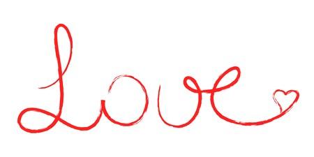 communication �crite: Texte manuscrit Red love avec c?ur