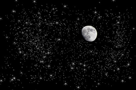 Scenic view of moon in starry sky at night; photo manipulation photo