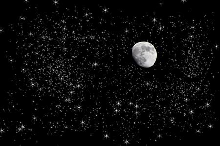 noche estrellada: Vista esc�nica de Luna en el cielo estrellado en la noche; foto manipulaci�n