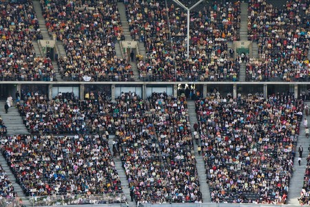 large crowd: Crowd on the stadium Stock Photo
