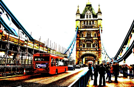 english bus: Illustration of the Londons Tower Bridge in England