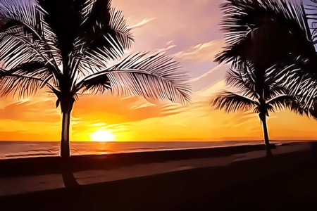 Illustration of orange sunset over the ocean and palm trees silhouettes Stock Illustration - 7333035