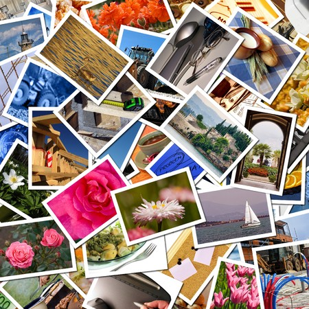 photo pictures: A pile of photographs arranged into a background Stock Photo