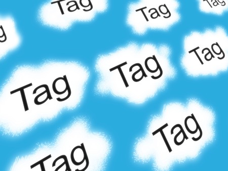 Illustration of internet tag clouds with blue sky background illustration