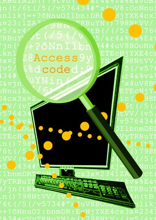 Magnifying glass over computer code photo