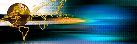 Business header with binary code, earth and world map Stock Photo - 7398603