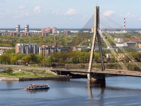 Vansu bridge (Vanu Tilts) over Daugava river in Riga, Latvia photo