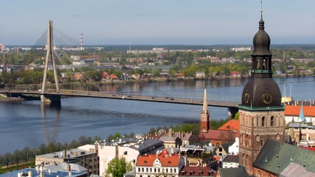 Vansu cable-stayed bridge over Daugava river in Riga, Latvia photo