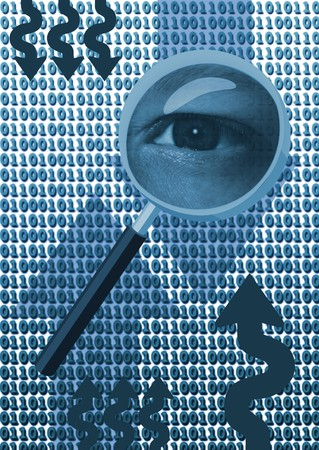 snoop: Magnifying glass with eye over binary code Stock Photo