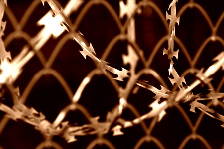 Barbed wire and wire mesh Stock Photo - 7398808