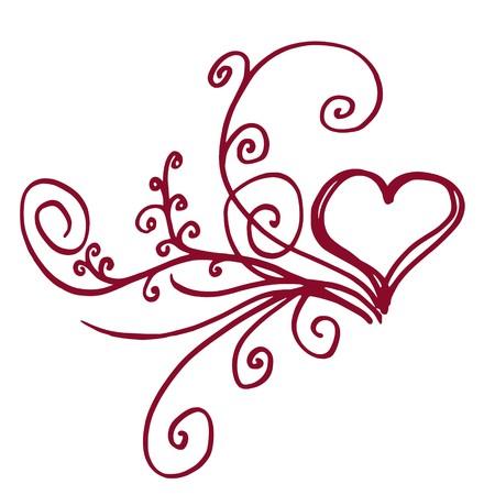 twirls: Heart shaped outline with floral details Illustration