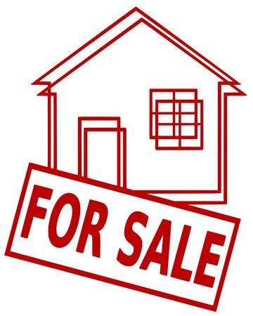 house for sale: Iconic illustration of a house and a sign For Sale Illustration