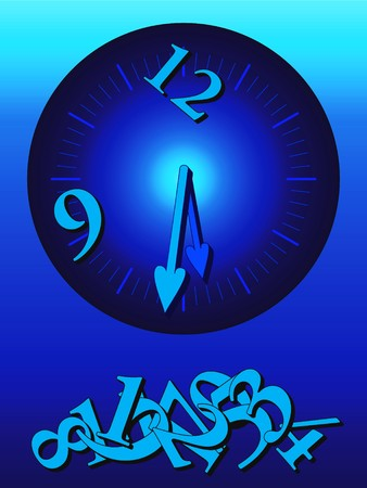 Illustration of a blue clock face and dropped numbers; lost time, wasted time concept Stock Vector - 7404369