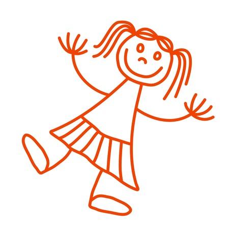 bonhomme allumette: drawing of a happy girl