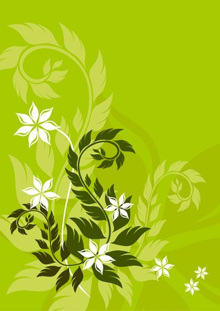 Green floral background Stock Vector - 7404240
