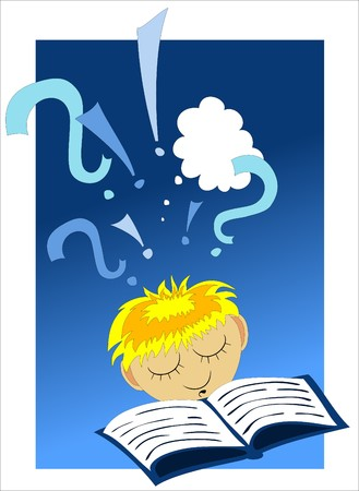 Illustration of a child reading a book Vector