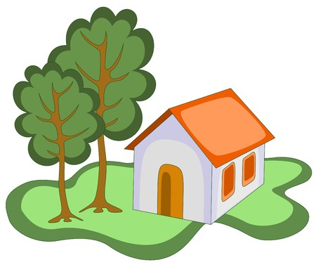 illustration of grey house with orange roof Vector