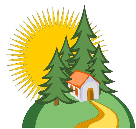 illustration of house on the top of the mountain, firs and huge sun on background Vector